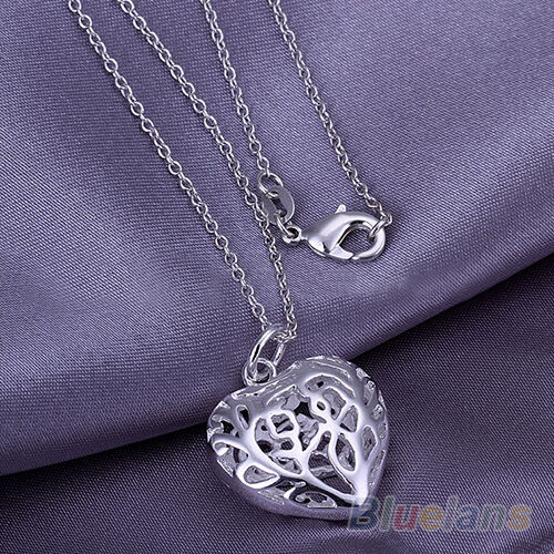 Antique Womens Solid Silver Plated Big Heart Pendant Silver Chain Necklace BE2A