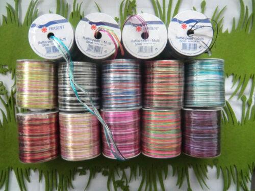 (€0,12/m)=Raffia Bast multicolor PEARL=50 Meter=VIELE FARBEN=Geschenkband=NEU==