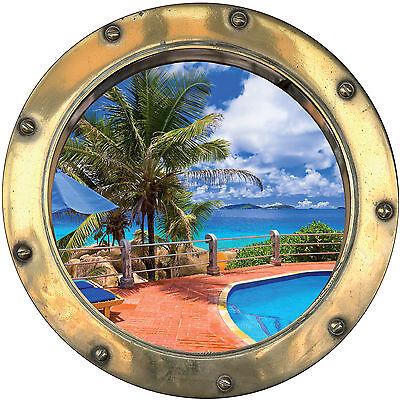 Sticker trompe l/'oeil déco Tropiques réf:hublot 1104