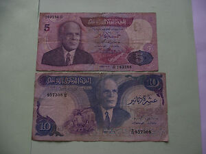 Amicable Tunesien 1983-11-3 Cheapest Price From Our Site 2 Banknoten: 10 Dinars & 5 Dinars tunisia