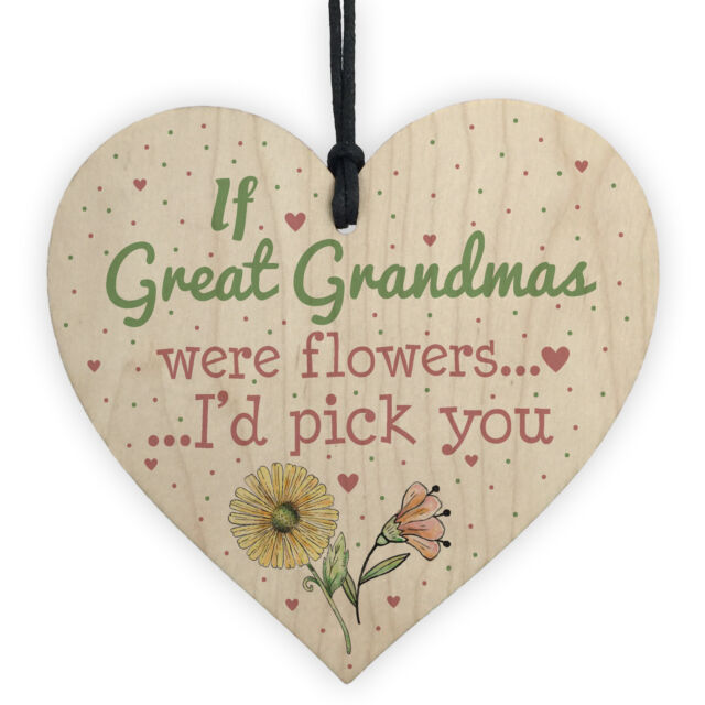 Great Grandma Birthday Gifts Hanging Wooden Heart Christmas Keepsake Thank You