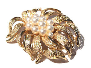Bijou-alliage-dore-broche-feuillage-et-perles-fantaisies-brooch