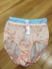 panties vintage bikini nylon satin lace hi brief size XL Lacy [x2] 1blue+1orange