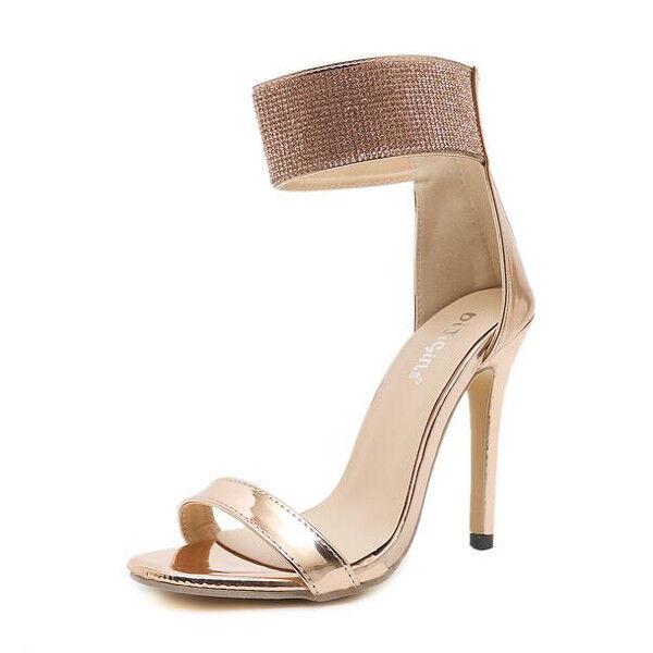 Sandali stiletto eleganti tacco 12 cm oro oro pelle sintetica eleganti 1153