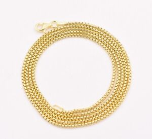 1-7mm-Round-Box-Chain-Necklace-Real-14K-Yellow-Gold-Clad-Sterling-Silver-925