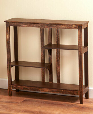 Country Rustic Brushed Metallic Console Table W Display Shelves Home Decor Gift Ebay