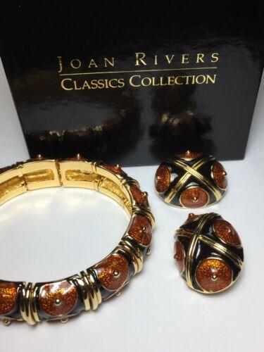 Vintage Joan Rivers Jet & Cinnabar Jewelry Set