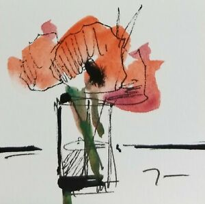 JOSE-TRUJILLO-ORIGINAL-Watercolor-Painting-SIGNED-Small-3x3-Red-Poppies