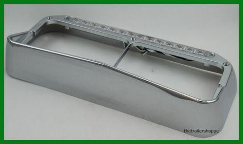 1 Set Chrome Plastic Dual Rectangular Headlight Bezel with Visor 14 LED Amber