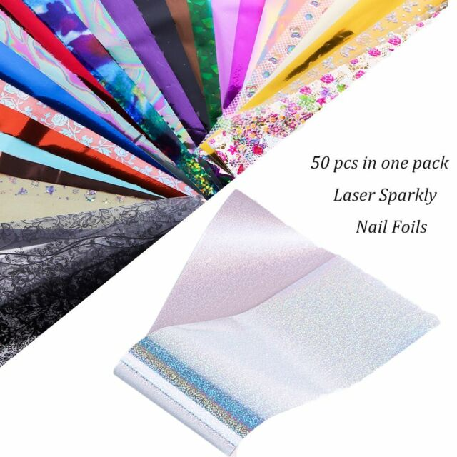 50pcs Holographic Nail Foil Laser Starry Paper Transfer Stickers Decals Art DIY
