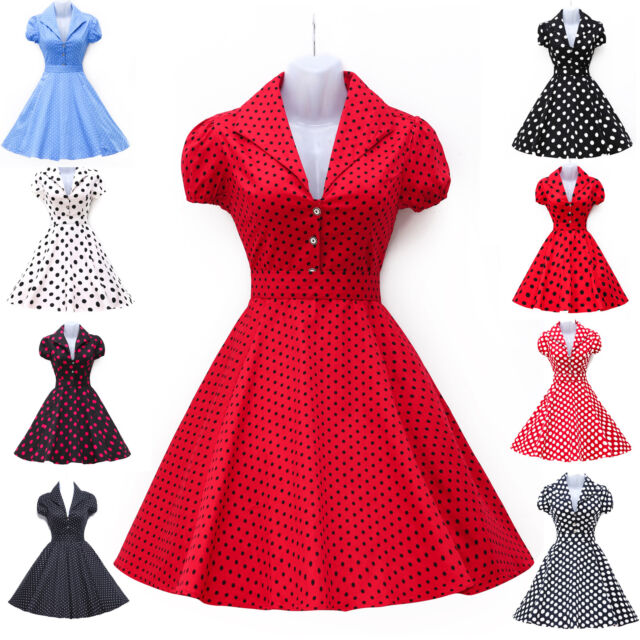 Vintage Retro 40's 50's 60's Petticoat Swing Pinup Dots Polka Dresses