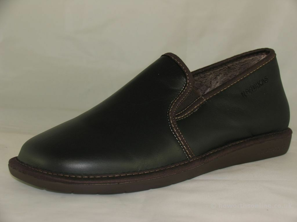Men's Nordikas Noble 663 Black Brown Navy Leather Full Slippers EU 40-47