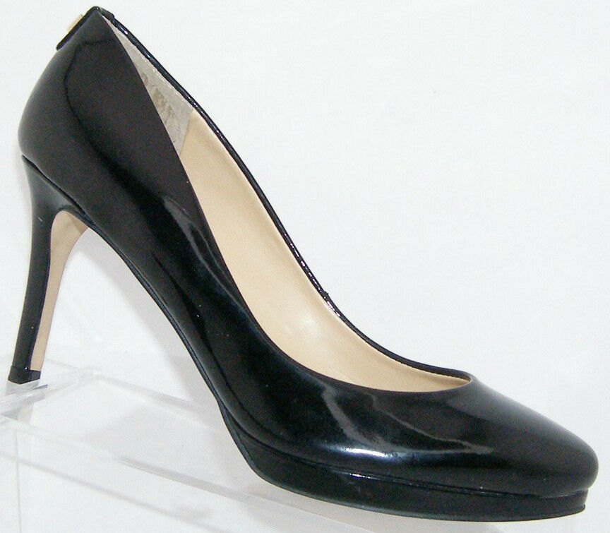 Ivanka Trump 'Sophia' black patent leather almond toe slip on pump heel 5.5M