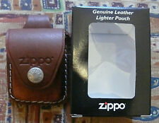 ZIPPO BROWN LEATHER POUCH WITH BELT LOOP FREE P&P