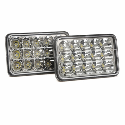 """4x6/"""" Crystal Clear Sealed Beam LED Projector Headlights For Chevy Pick Up 81-87"""