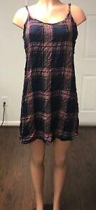 Mossimo-Women-039-s-Plaid-Woven-Slip-Dress-Black-Size-B022
