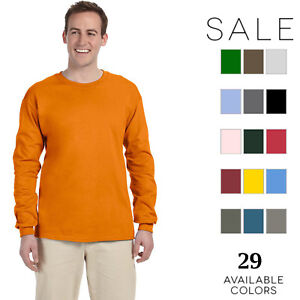Gildan-Men-039-s-Ultra-Cotton-6-oz-Long-Sleeve-T-Shirt-G240-S-5XL