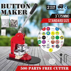 75mm 3 button badge maker press 500 pcs free buttons circle cutter