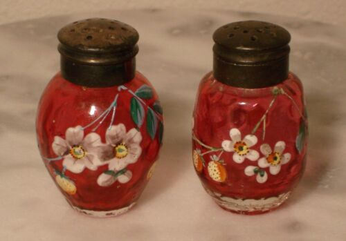 Victorian Antique Ruby Art Glass Enamel Floral Salt and Pepper