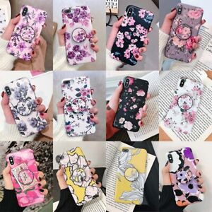 For-iPhone-11-Pro-Max-XR-XS-6s-7-Plus-Flower-Pattern-Stand-Holder-TPU-Case-Cover