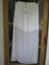 SHEER CHIFFON LONG COOL WHITE SUMMER MAXI SKIRT 12 MANGO