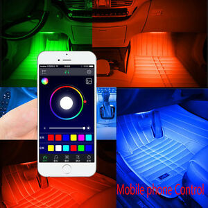 9 flexible strip car interior grill app control under car rgb led accent light ebay. Black Bedroom Furniture Sets. Home Design Ideas