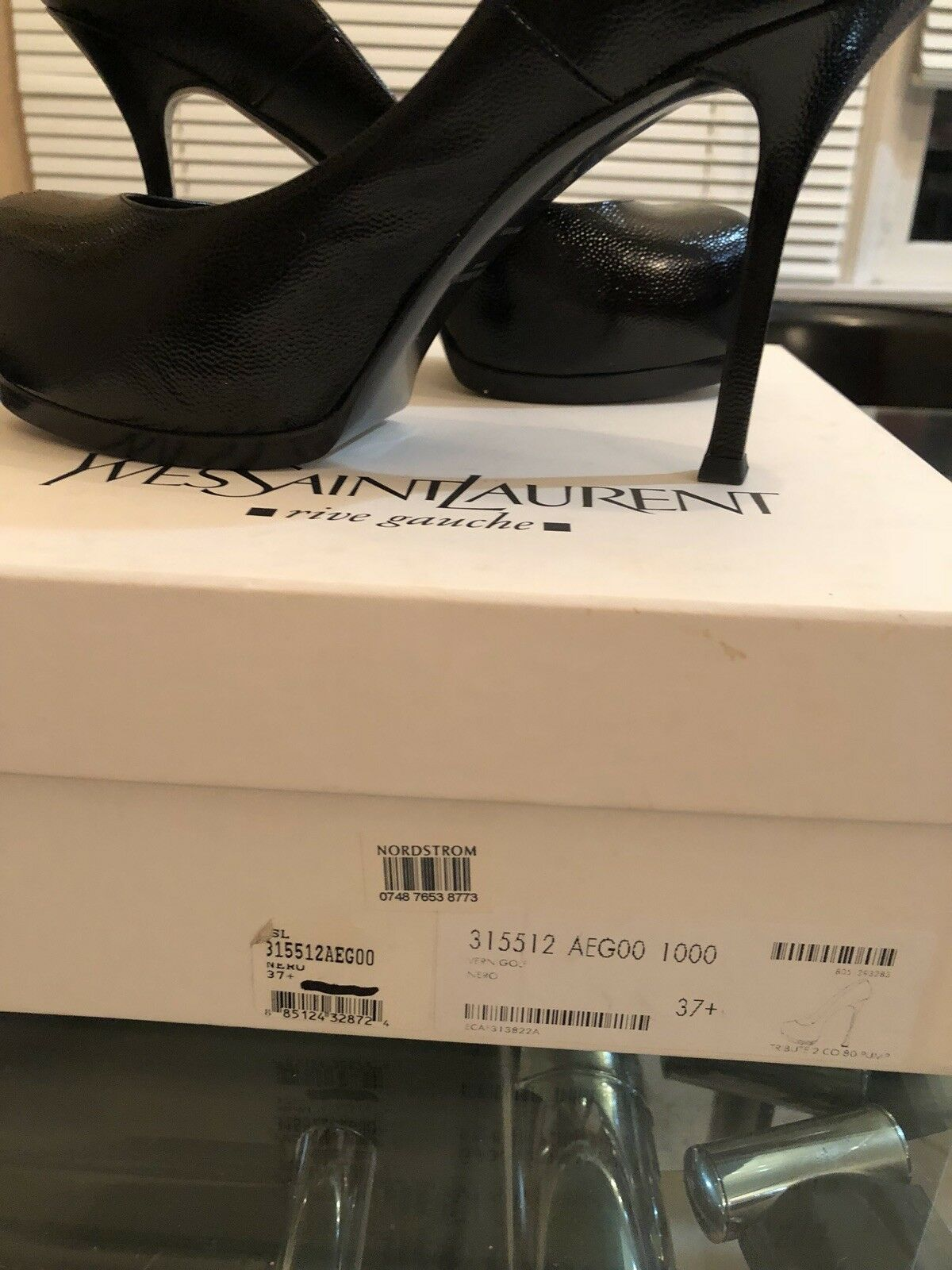 YSL Designer schuhe Trib Too schwarz patent leather leather leather mint condition b85c49