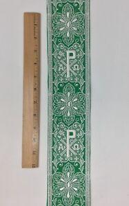 Vintage-Religioso-A-amp-o-Chi-Rho-Diseno-Blanco-Encendido-Verde-Banda-8-3cm-C111