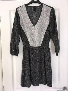 H-amp-M-Black-White-Polka-Dot-Spot-Tunic-Dress-Size-UK-8-US-4