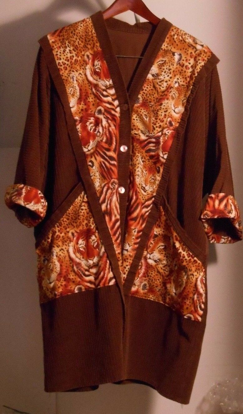 Brown Corduroy and Animal Print Coat, Size 2X 3X,  Dramatic Look