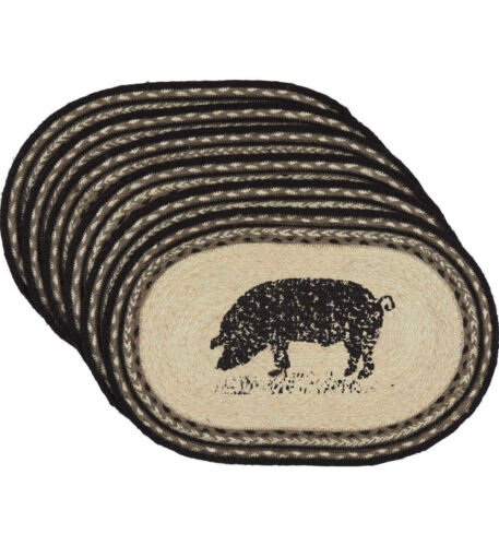 6pc Set Novelty Tabletop D VHC Brands CWI Gifts Sawyer Mill Pig Jute Placemats