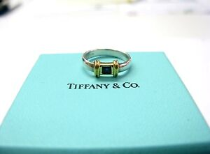 0c5a8c208 Fine Tiffany & Co Blue Sapphire Ring 18KT Yellow Gold/ Sterling ...