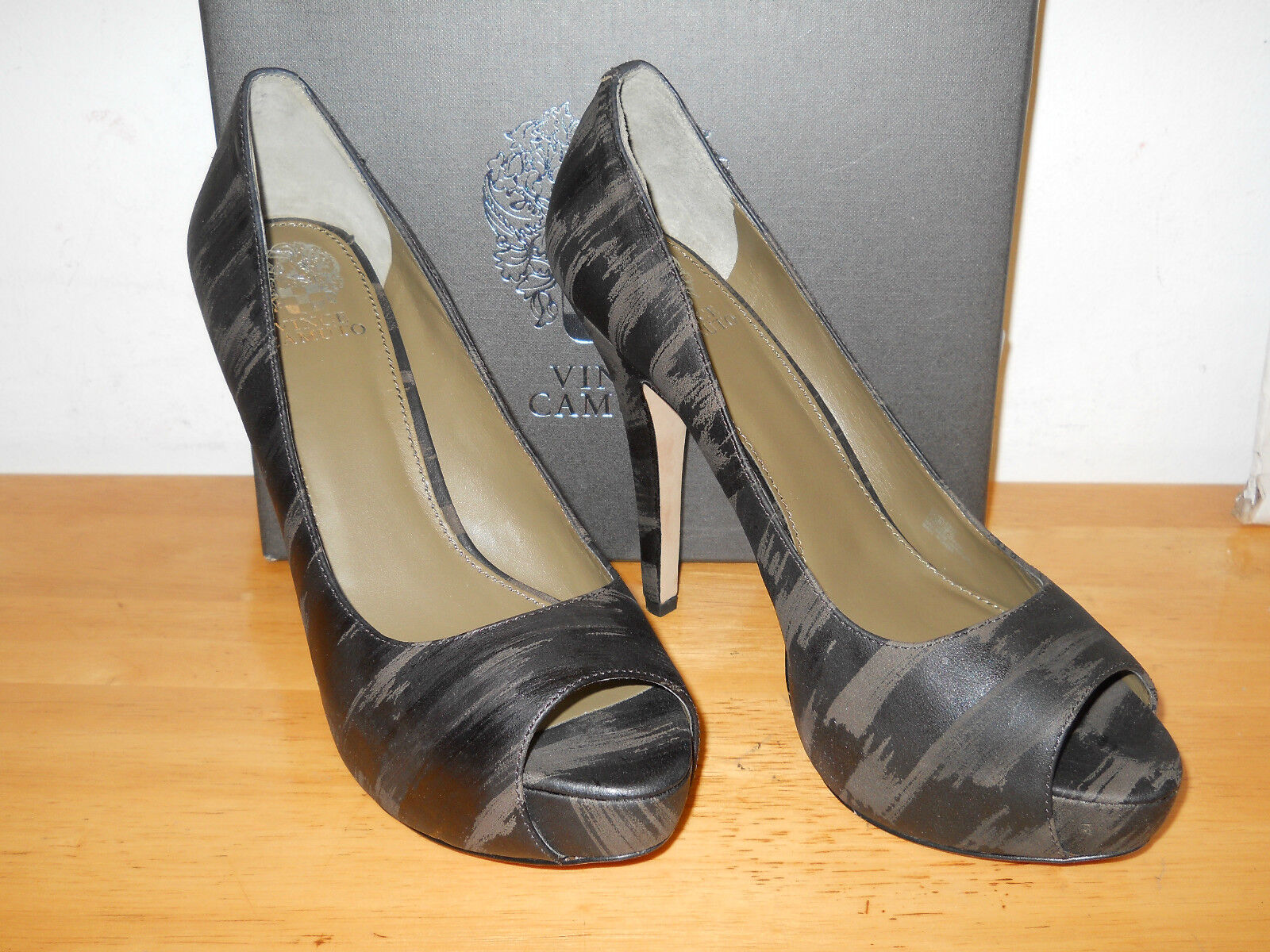 Vince Camuto New Donna Milesy2 Khaki Combo Open Toe Heels 9.5 M Shoes NWB