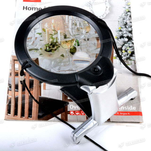 2X LED Magnifying READING LARGE Magnifier Glass Foldable Stand HANDS FREE Health