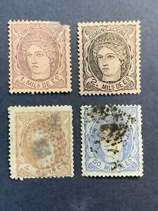 1870-Spain-Stamps-Lot-of-4
