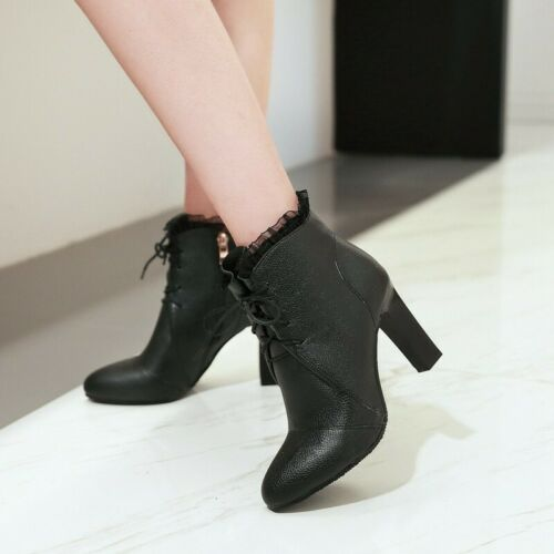 Details about  /New Fashion Women/'s Side Zipper Block Heel Pointy Toe Ankle Boots Pumps 34//45 D