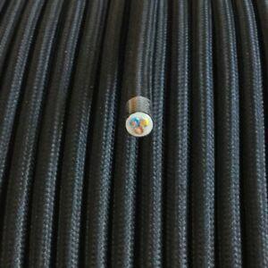 Textilkabel-Textilfaser-umflochten-Leitung-rund-schwarz-3x0-75-H03VV