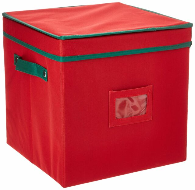 Red Ornament Storage Chest with Dividers 64 Christmas ...