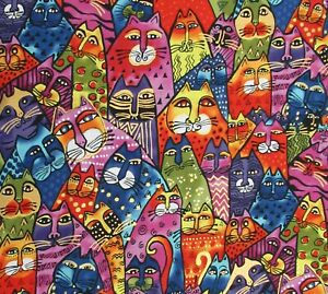 Feline-Frolic-Cats-Gold-Accent-Cotton-Quilt-Fabric-Laurel-Burch-Clothworks