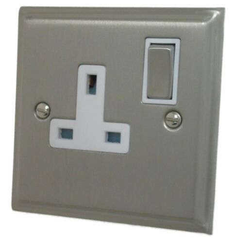 G/&H DSN209 Deco Plate Satin Nickel 1 Gang Single 13A Switched Plug Socket