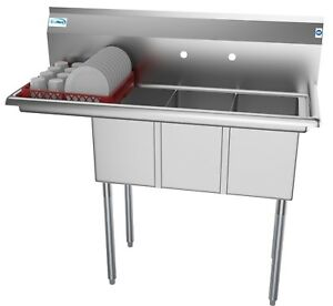 3 Compartment NSF Stainless Steel Commercial Kitchen Sink with ... on hotel drying racks, pool drying racks, bakery drying racks, school drying racks, industrial drying racks, coffee drying racks, fireplace drying racks,