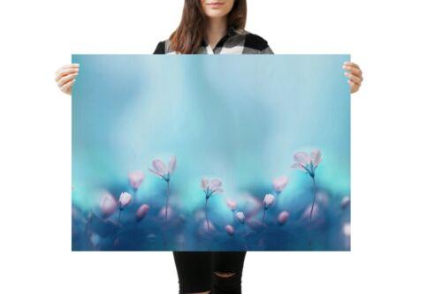 A1Pretty Primrose Flowers Poster Art Print 60 x 90cm 180gsm Blue Pink #14047