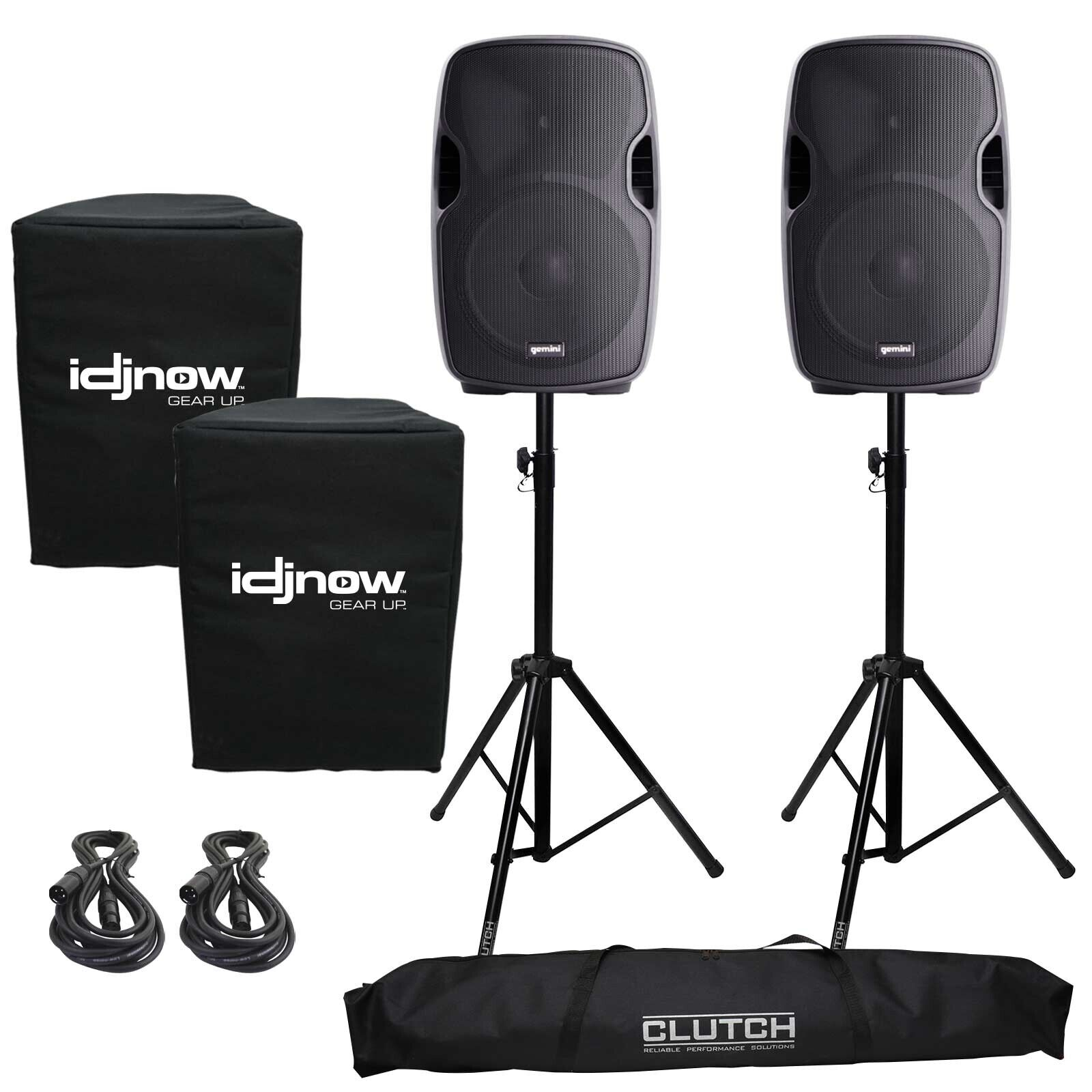 Gemini AS-1200P Active/Powered Portable DJ PA Speaker System Stands and Covers. Buy it now for 296.80
