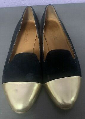 Madewell Black Suede Gold Toe Cap Women