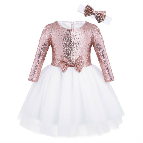 Flower Girls Dresses Sequin Princess Party Wedding Bridesmaid Birthday Bow Gown