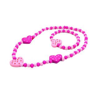 1 Set Cute Pink Love Heart Beads Kids Children Necklace Bracelet Jewelry Set
