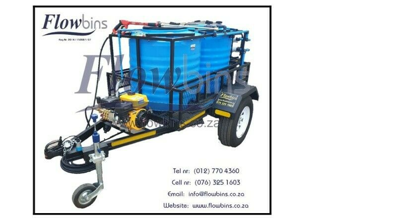 NEW 600 to 2500Lt 186 Bar mobile high pressure washer trailers from R 31 590