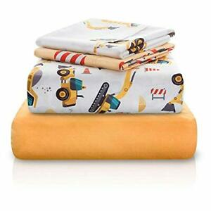 Chital-Bed-Sheets-for-Boys-4-Pc-Construction-Tractor-Fun-Print-Gift-Sheet-Set