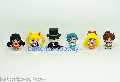 New 6 pcs Sailor Moon  Mars Jupiter Chibi Pluto Action figure Mini Figures 1.8""