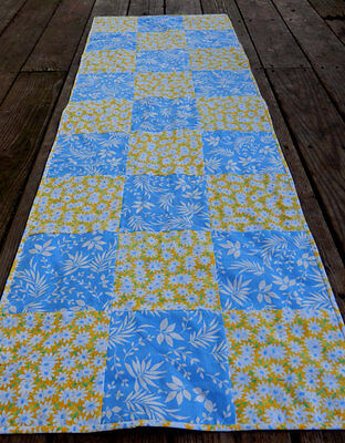 Spring Table Runner French Country Blue and Yellow, Handmade in NJ